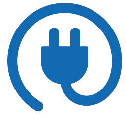 stylized electrical plug curled into a circle